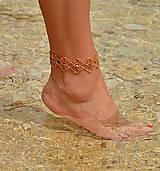 Náramky - Náramok na nohu zlatý, kvietkovaný - 8272933_
