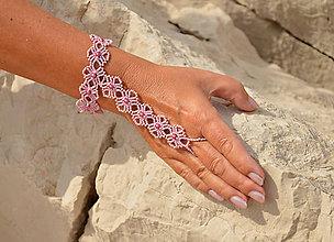 Náramky - Náramok ružový, kvietkovaný - 8273577_