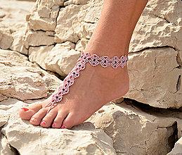 Náramky - Členkový náramok ružový, kvietkovaný - 8273667_