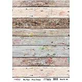 Papier - Ryžový papier A3, č. 436, zodraté dosky s ružičkami - 8277818_