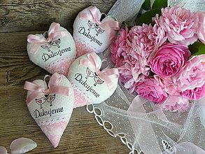"""Darčeky pre svadobčanov - srdiečka """"Ružový dotyk"""" - 8276776_"""