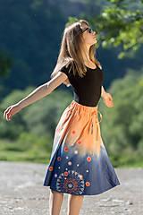 Sukne - Sukňa šitá, batikovaná, maľovaná, etno UŠAS - 8276665_