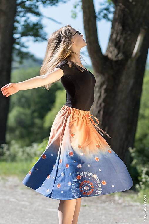 Sukňa šitá, batikovaná, maľovaná, etno UŠAS