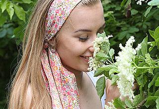 Šatky - Kvetinová šatka do vlasov/krku na leto s náušničkami - 8276247_