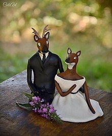 Dekorácie - Jeleň a srnka - figúrky na svadobnú tortu - 8278122_
