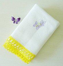 Úžitkový textil - Utierka s háčkovaným okrajom, motýliková, biela - 8277170_