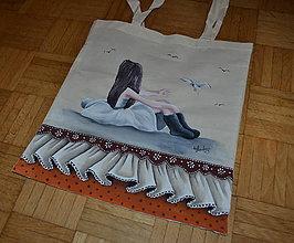 Nákupné tašky - ručne maľovaná taška- dievča - 8277862_