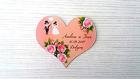 Darčeky pre svadobčanov - Magnetka srdce ruže - 8275656_