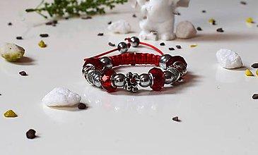 Náramky - Shamballa náramok s pandorkami červený - 8280338_
