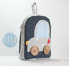 Detské tašky - RUKSAK s autom šedo - tmavomodrý, 2,5r. (1,5 r.) - 8279882_