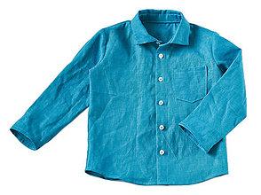 Detské oblečenie - Ľanová košeľa modrá - 8279655_