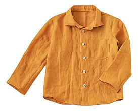 Detské oblečenie - Ľanová košeľa horčicová - 8279661_