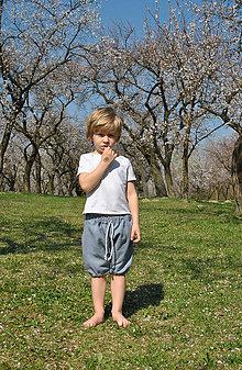 Detské oblečenie - Ľanové háremky sivé - 8279692_