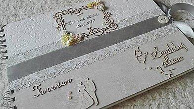 Papiernictvo - Sivobiely svadobný fotoalbum - 8279589_