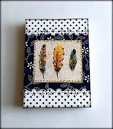 Papiernictvo - Ručne šitý zápisník/diár ,, Boho feathers\