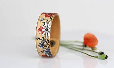 """Náramky - Kožený náramok """"Lúčne kvety"""" - ručne maľovaný - 8279818_"""