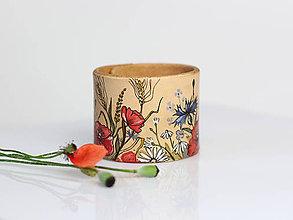 """Náramky - Veľký kožený náramok """"Lúčne kvety"""" - ručne maľovaný - 8279833_"""