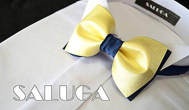 Doplnky - Pánsky žlto modrý motýlik - žltý modrý - 8280071_