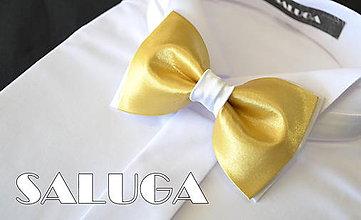 Doplnky - Pánsky bielo zlatý motýlik - zlatý - svadobný - 8280076_