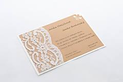 Vintage svadobné oznámenie s krajkou