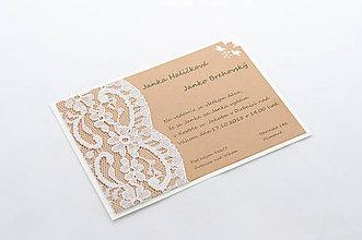 Papiernictvo - Vintage svadobné oznámenie s krajkou - 8280708_