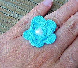 Prstene - Háčkovaný prstienok s kvietkom, tyrkysový - 8278568_
