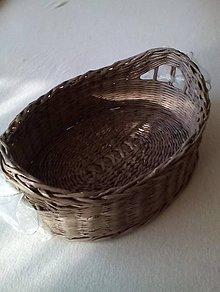 Košíky - Pletená ošatka oválna (hnedá) - 8281114_