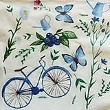 Papier - S1023 - Servítky - bicykel, motýľ, krhla, bike, kvety, akvarel - 8282342_