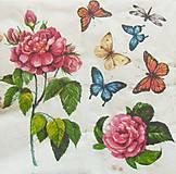 Papier - S1024 - Servítky - ruža, motýľ, kvet, jar, krídla - 8282816_