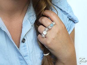 Prstene - Strieborný prsteň s akvamarínom - Žblnkot modrý - 8281997_