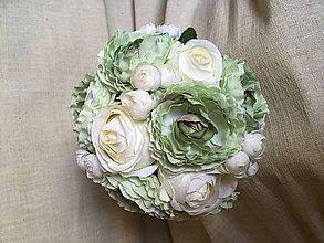 Kytice pre nevestu - svadobná kytica pastelová zelená s maslovou - 8282933_