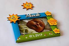 Detské doplnky - Slniečkový fotorámik s údajmi o narodení - 8282593_