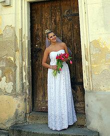 Šaty - Svadobné jednoduché šaty s čipkou - 8281446_