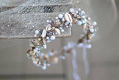 Ozdoby do vlasov - mušličková koruna s perlami - 8283542_