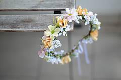 Ozdoby do vlasov - květinový jemný pastelový věneček - 8283587_