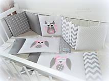 Textil - Mantinel do postieľky 240x25cm(šedý a ružové sovy) - 8286150_