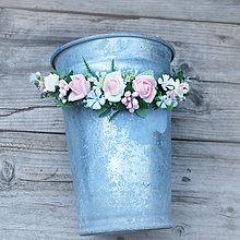 Ozdoby do vlasov - Polvenček z ružičiek, pastelovo ružový - 8284803_