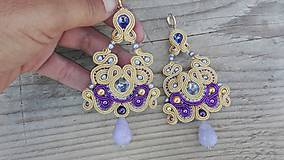 Náušnice - Light Gold/Provence Lavender...soutache - 8284610_