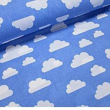 Textil - Metráž bílé mraky na modré - 8285642_