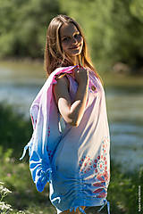 Šaty - Dámske šaty mini, šité, batikované, maľované, etno HARITI - 8284746_