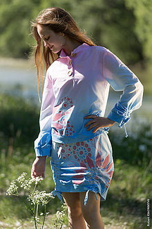 Mikiny - Dámska mikina so šnúrkami, sťahovacia, batikovaná, maľovaná, etno ADITI - 8284665_