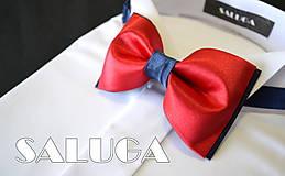 Doplnky - Pánsky modro červený motýlik - 8285677_