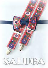 - Folklórny pánsky modrý červený motýlik a traky - folkový - ľudový  - 8286207_