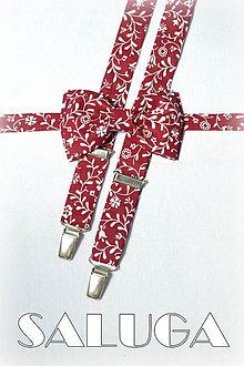 Doplnky - Pánsky bordový vínový motýlik + traky - vzorovaný - 8286264_