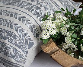 Úžitkový textil - Ručná potlač vzorov na vankúš ľan/bavlna - 8286422_