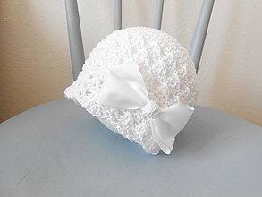 Detské čiapky - Biela čiapka so stuhou - 8285892_