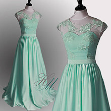 Šaty - Spoločenské šaty mätové - 8284358_