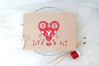 Papiernictvo - Kniha hostí folklórna láska/ drevená - 8284747_