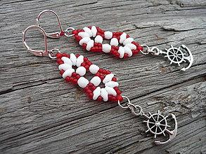 Náušnice - !AKCIA! Náušnice Námornické červeno-biele - 8287500_