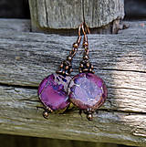 - Purpurový jaspis v medenom - náušnice - 8287834_